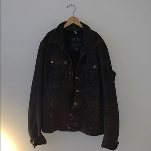 Vintage Armani Jeans Leather Jacket Large